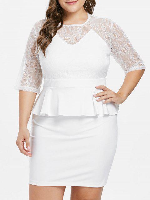 Plus Size Flounce Lace Bodycon Dress - WHITE L