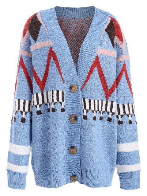 Geometric Button Up Cardigan - LIGHT SKY BLUE ONE SIZE