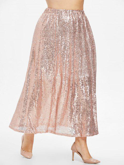 Plus Size Swing Sequins Skirt - PINK 5X