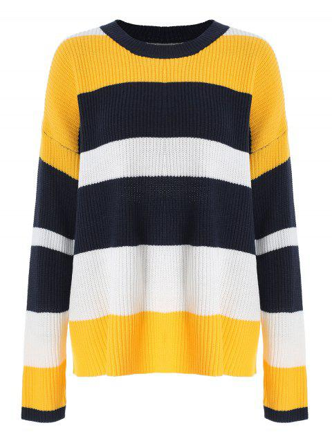 Color Block Round Neck Pullover Sweater - multicolor ONE SIZE
