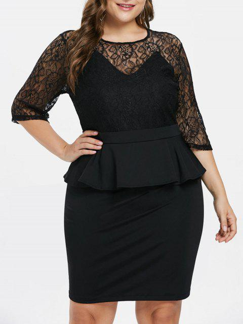 Plus Size Flounce Lace Bodycon Dress - BLACK L