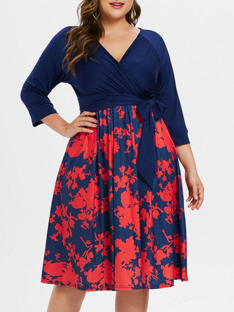 Plus Size Belted Printed Dress - BLUE L