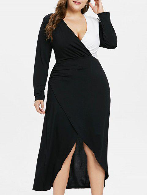 Plus Size Color Block Low Cut Dress - BLACK 1X