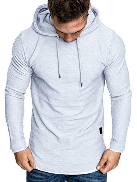 Contract Color Pullover Drawstring Hoodie - LIGHT GRAY XL