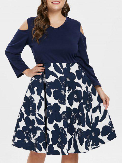 V Neck Plus Size Floral Print Swing Dress - multicolor L