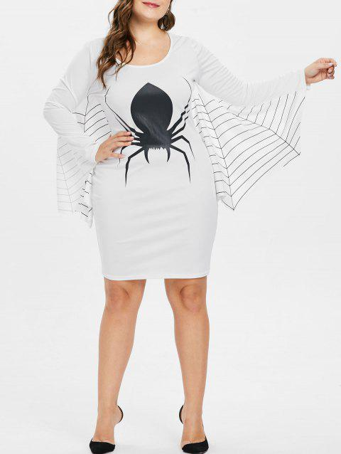 Striped Spider Pattern Plus Size Shift Dress - WHITE 1X
