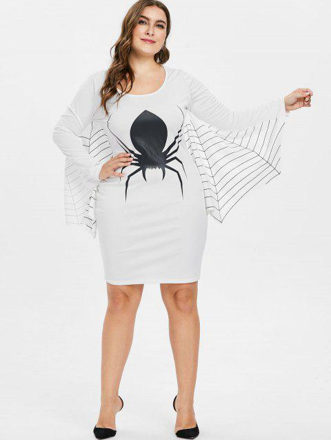 Striped Spider Pattern Plus Size Shift Dress