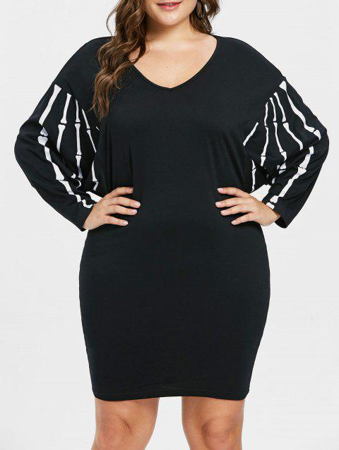 Plus Size Batwing Sleeve Shift Dress - BLACK 4X