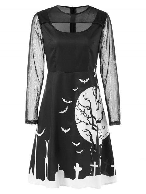 Mesh Panel Long Sleeve Halloween Print Dress - BLACK M