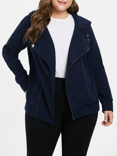Plus Size Hooded Oblique Neck Coat - CADETBLUE L