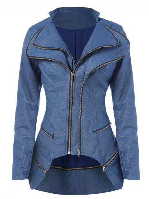 Zipper Embellished High Low Jacket - BLUE KOI XL