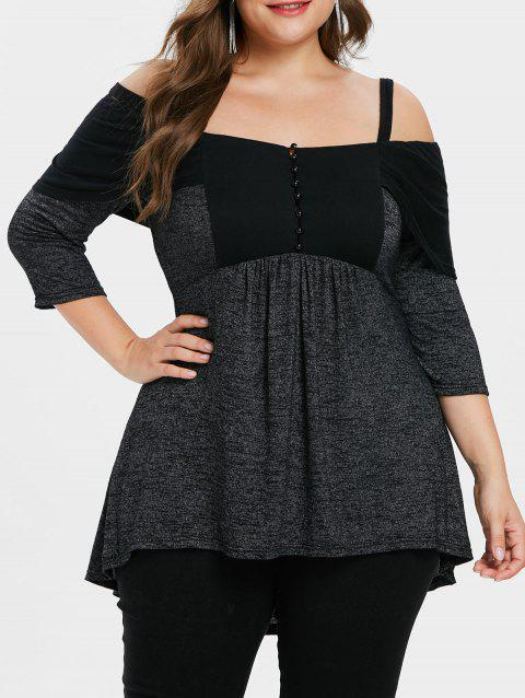 Plus Size Cold Shoulder Marled Tunic T-shirt - BLACK L
