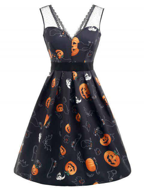 Halloween Pumpkin Print Lace Panel Dress - BLACK S