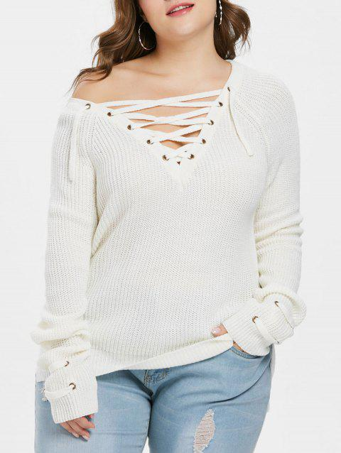 fe758e0a43ef 41% OFF] 2019 Lace Up Plus Size Chunky Sweater In WHITE | DressLily