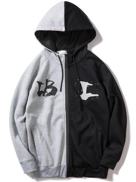 Two Tone Letter Print Full Zipper Fleece Hoodie - GRAY S