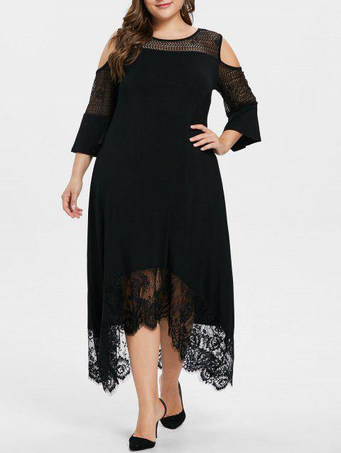 Plus Size Open Shoulder Lace Panel Dress - BLACK 2X