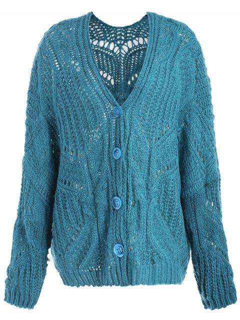 Buttoned Long Cardigan - DARK TURQUOISE ONE SIZE