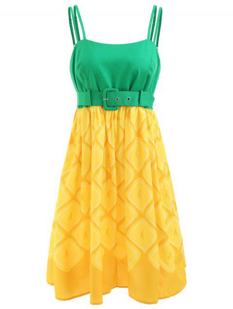Pineapple Print Adjustable Straps Flare Dress - YELLOW M
