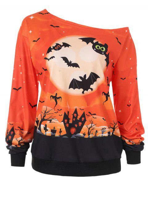 Sweat-shirt Halloween Nuit Imprimé - Orange 2XL