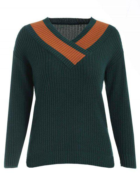 Two Tone Slim Fit Sweater - DARK GREEN ONE SIZE