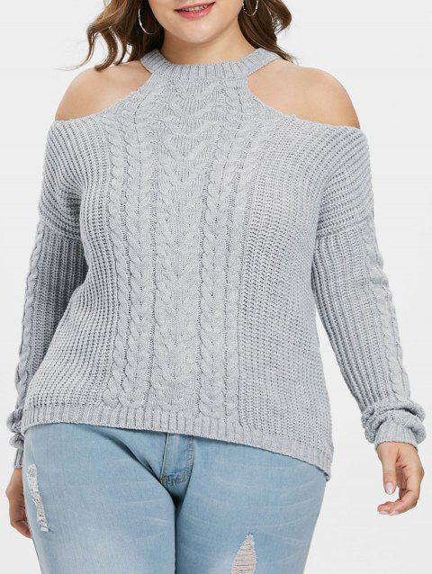 Plus Size Open Shoulder Sweater - GRAY ONE SIZE