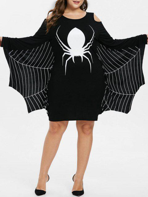 Plus Size Halloween Spider Net Print Dress - BLACK 5X