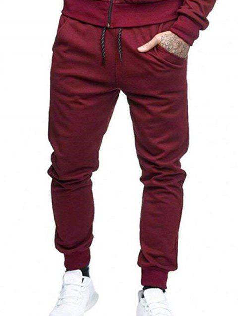 Solid Side Pockets Casual Jogger Pants - RED WINE L