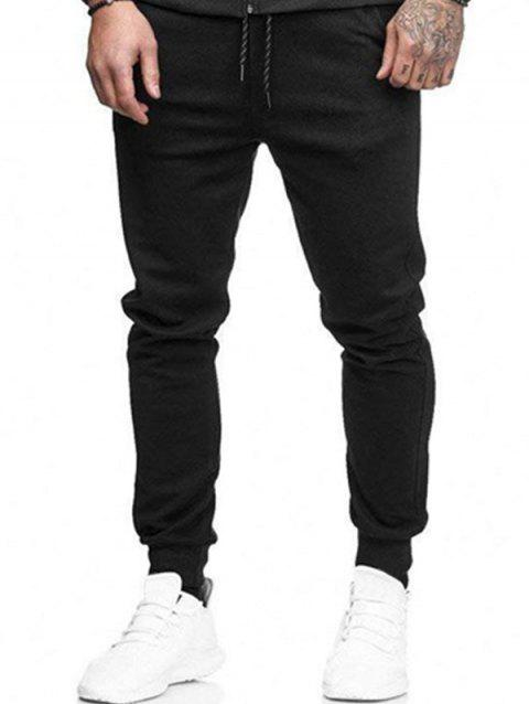 Solid Side Pockets Casual Jogger Pants - BLACK M