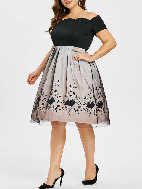 Plus Size Off Shoulder Fit and Flared Dress - BLACK 4X