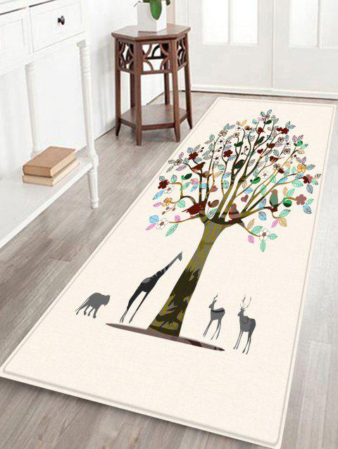Colorful Tree Print Anti-skid Flannel Area Rug - WARM WHITE W16 INCH * L47 INCH