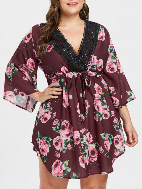 Plunging Neck Plus Size Floral Print Dress - RED WINE 2X
