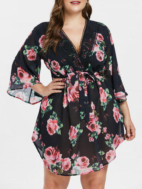 Plunging Neck Plus Size Floral Print Dress - BLACK L