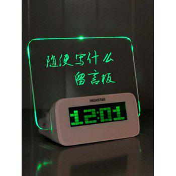 LCD Alarm Clock with Message Reminder Board - GREEN