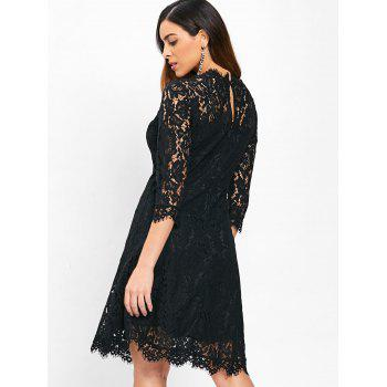 Lace Trapeze A Line Dress - BLACK 2XL