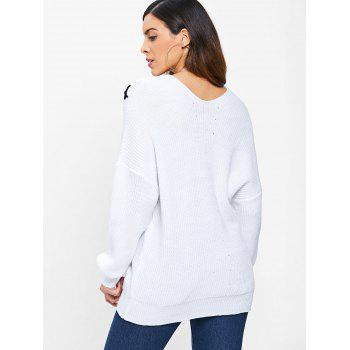 Lace Up Chunky Sweater - MILK WHITE M