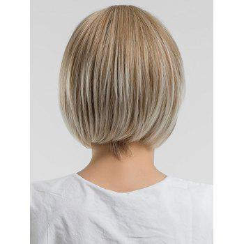 Inclined Bang Short Straight Bob Colormix Synthetic Wig - CHAMPAGNE GOLD