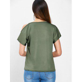 Shiny Straps Batwing Sleeve T-shirt - ARMY GREEN XL