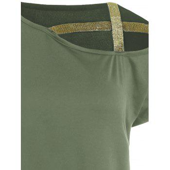 Shiny Straps Batwing Sleeve T-shirt - ARMY GREEN L