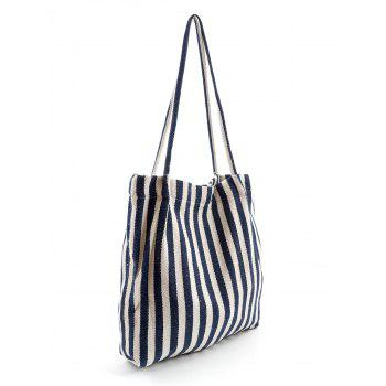 Stripe Print Canvas Tote Bag - EARTH BLUE