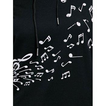 Two Tone Music Note Hoodie - BLACK XL