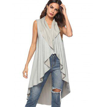 Asymmetrical Collarless Vest - GRAY S