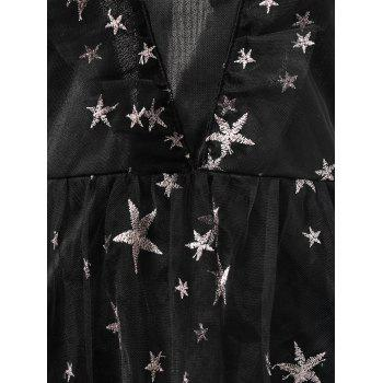 Stars Embroidery Ruffled Lace Dress - BLACK L