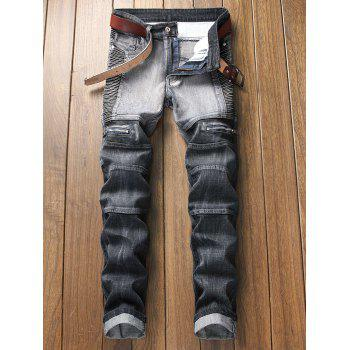 Pleated Zipper Decorated Denim Jeans - GRAY 32