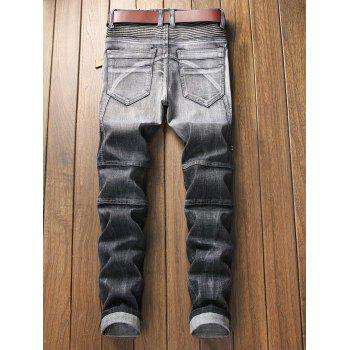 Pleated Zipper Decorated Denim Jeans - GRAY 34