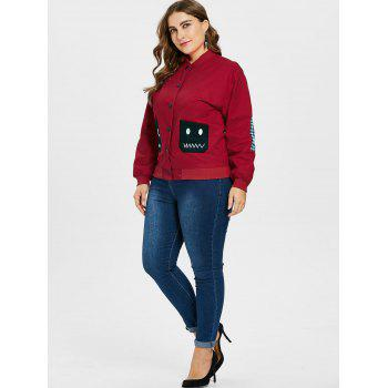 Plus Size Graphic Buttoned Jacket - RED L
