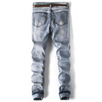 Distressed Pleated Patch Embellished Jeans - BLUE GRAY XS