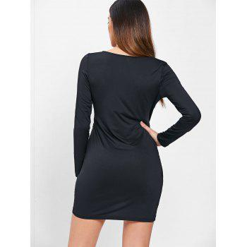 Long Sleeve Ruched Bodycon Dress with Zipper - BLACK S