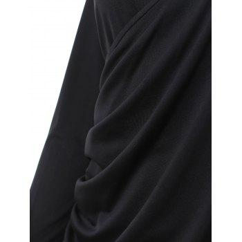 Long Sleeve Ruched Bodycon Dress with Zipper - BLACK 2XL