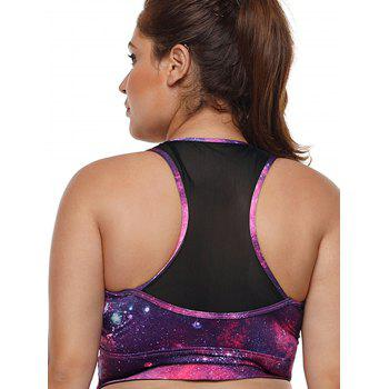Plus Size Mesh Panel Racerback Fitted Bra - ROSE RED L