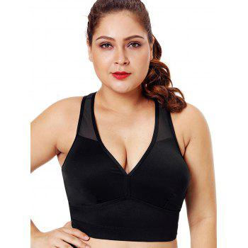 Plus Size Mesh Panel Racerback Fitted Bra - BLACK 1X